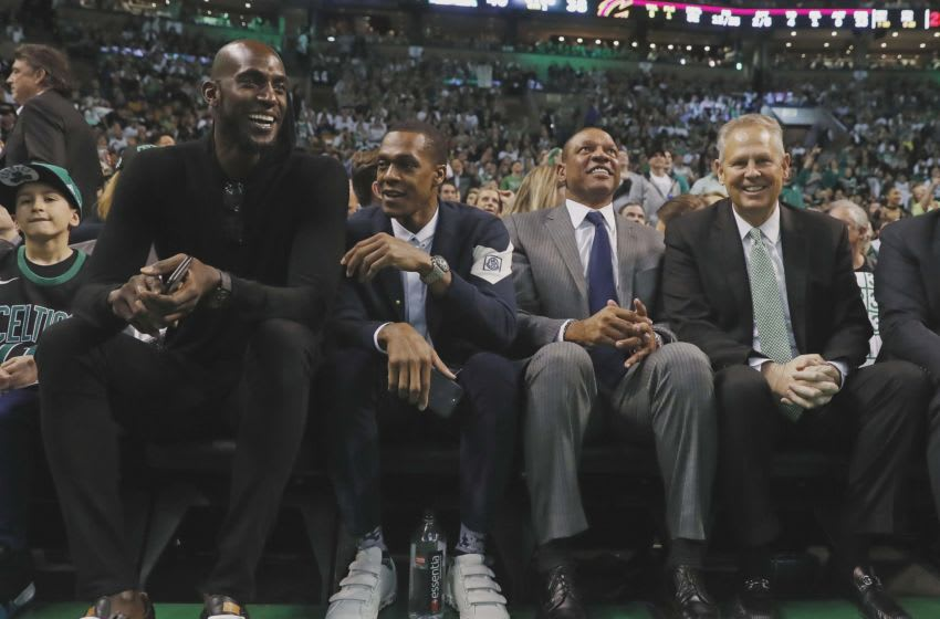 Feb 11, 2018; Boston, MA, USA; Former Boston Celtics (left to right) Kevin Garnett, Rajon Rondo, coach Doc Rivers and current general manager Danny Ainge look on during the second quarter of the game between the Boston Celtics and the Cleveland Cavaliers at TD Garden. Mandatory Credit: Winslow Townson-USA TODAY Sports