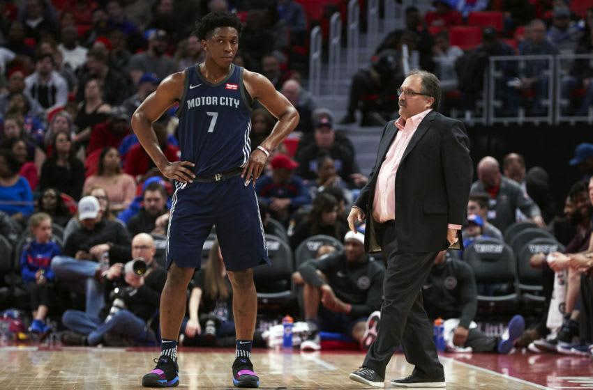 Apr 9, 2018; Detroit, MI, USA; Detroit Pistons head coach Stan Van Gundy talks to forward Stanley Johnson (7) during the second half against the Toronto Raptors at Little Caesars Arena. Mandatory Credit: Rick Osentoski-USA TODAY Sports