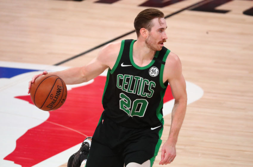 Sep 25, 2020; Lake Buena Vista, Florida, USA; Boston Celtics forward Gordon Hayward (20) controls the ball against the Miami Heat during the second half in game five of the Eastern Conference Finals of the 2020 NBA Playoffs at AdventHealth Arena. Mandatory Credit: Kim Klement-USA TODAY Sports