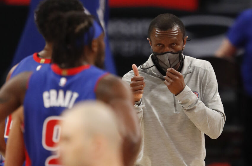 Mar 17, 2021; Detroit, Michigan, USA; Detroit Pistons head coach Dwane Casey gives his players a thumbs up during the first quarter against the Toronto Raptors at Little Caesars Arena. Mandatory Credit: Raj Mehta-USA TODAY Sports