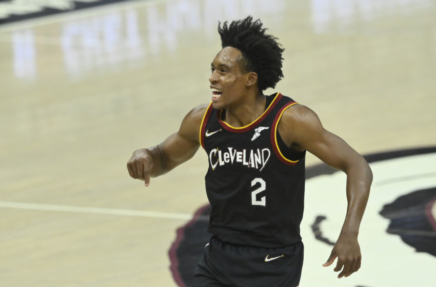 May 10, 2021; Cleveland, Ohio, USA; Cleveland Cavaliers guard Collin Sexton (2) reacts in the second quarter against the Indiana Pacers at Rocket Mortgage FieldHouse. Mandatory Credit: David Richard-USA TODAY Sports
