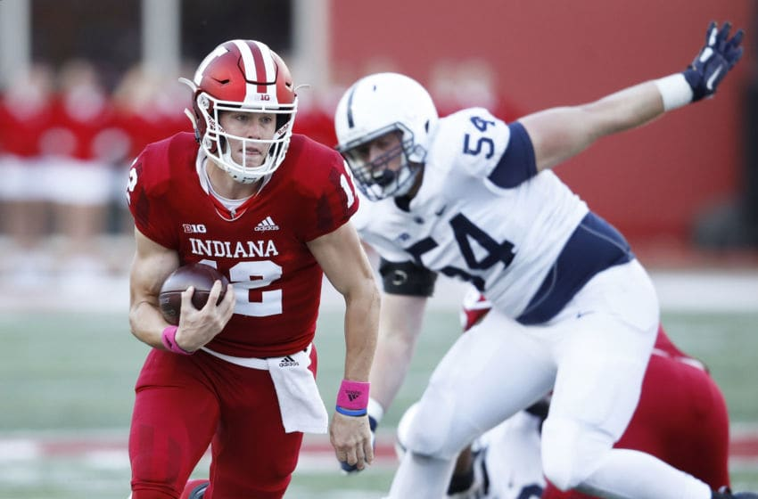 BLOOMINGTON, IN - OCTOBER 20: Peyton Ramsey #12 of the Indiana Hoosiers runs the ball against the Penn State Nittany Lions in the third quarter of the game at Memorial Stadium on October 20, 2018 in Bloomington, Indiana. Penn State won 33-28. (Photo by Joe Robbins/Getty Images)