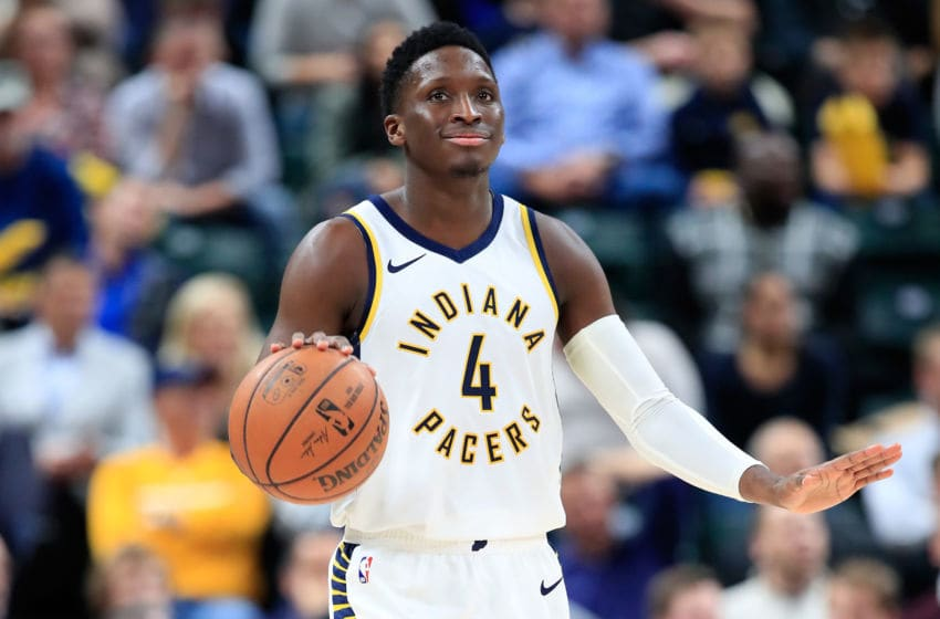 INDIANAPOLIS, IN - NOVEMBER 05: Victor Oladipo #4 of the Indiana Pacers dribbles the ball against the Houston Rockets at Bankers Life Fieldhouse on November 5, 2018 in Indianapolis, Indiana. NOTE TO USER: User expressly acknowledges and agrees that, by downloading and or using this photograph, User is consenting to the terms and conditions of the Getty Images License Agreement. (Photo by Andy Lyons/Getty Images)