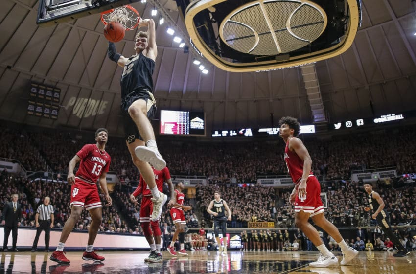 WEST LAFAYETTE, IN - JANUARY 19: Matt Haarms #32 of the Purdue Boilermakers dunks the ball during the second half of the game against the Indiana Hoosiers at Mackey Arena on January 19, 2019 in West Lafayette, Indiana. (Photo by Michael Hickey/Getty Images)