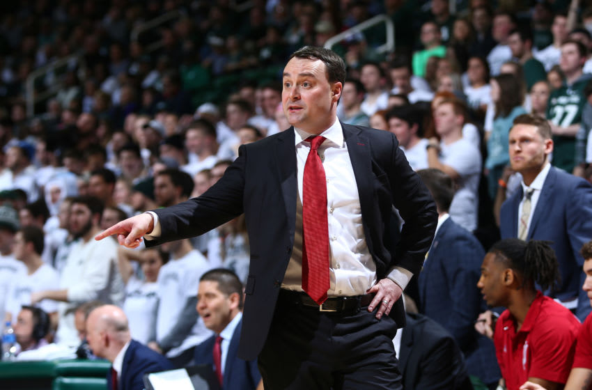 EAST LANSING, MI - FEBRUARY 02: Head coach Mark Archie Miller of the Indiana Hoosiers gives instructions to his players during a game against the Michigan State Spartans at Breslin Center on February 2, 2019 in East Lansing, Michigan. (Photo by Rey Del Rio/Getty Images)