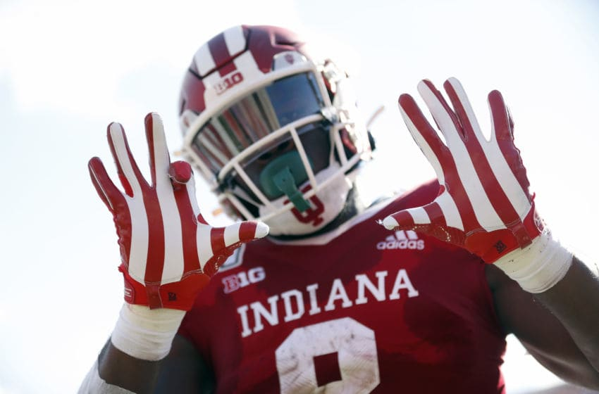 BLOOMINGTON, INDIANA - SEPTEMBER 07: Stevie Scott III #8 of the Indiana Hoosiers celebrates after scoring a touchdown during the first quarter in the game against the Eastern Illinois Panthers at Memorial Stadium on September 07, 2019 in Bloomington, Indiana. (Photo by Justin Casterline/Getty Images)