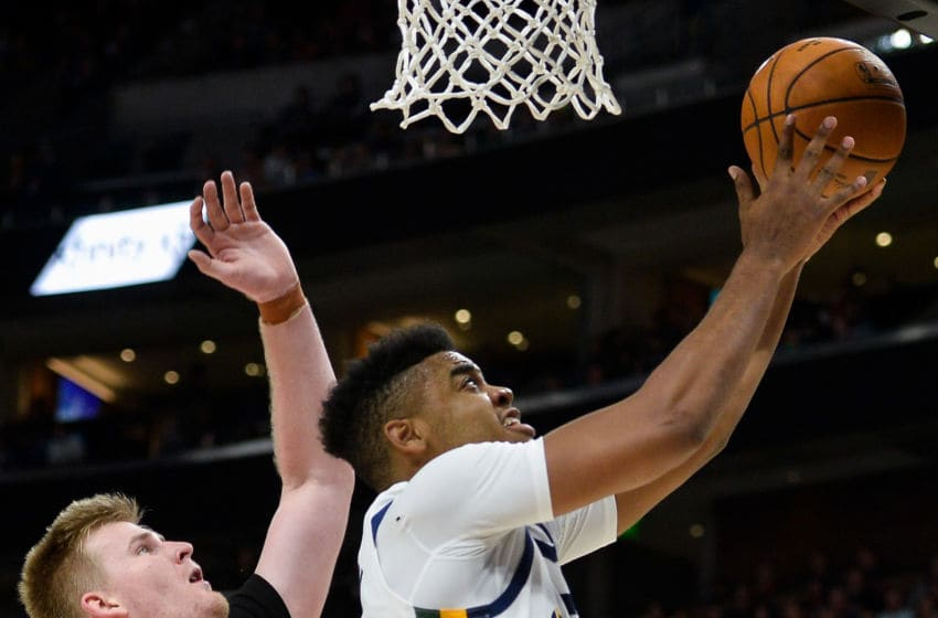 SALT LAKE CITY, UT - OCTOBER 05: Juwan Morgan #16 of the Utah Jazz shoots under Harry Froling #11 of the Adelaide 36ers at Vivint Smart Home Arena on October 5, 2019 in Salt Lake City, Utah. NOTE TO USER: User expressly acknowledges and agrees that, by downloading and or using this photograph, User is consenting to the terms and conditions of the Getty Images License Agreement. (Photo by Alex Goodlett/Getty Images)