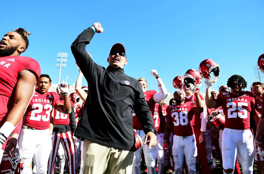 BLOOMINGTON, IN - OCTOBER 12: Tom Allen head coach of the Indiana Hoosiers and and the Indiana Hoosiers celebrate after defeating the Rutgers Scarlet Knights 35-0 at Memorial Stadium on October 12, 2019 in Bloomington, Indiana. (Photo by Bobby Ellis/Getty Images)