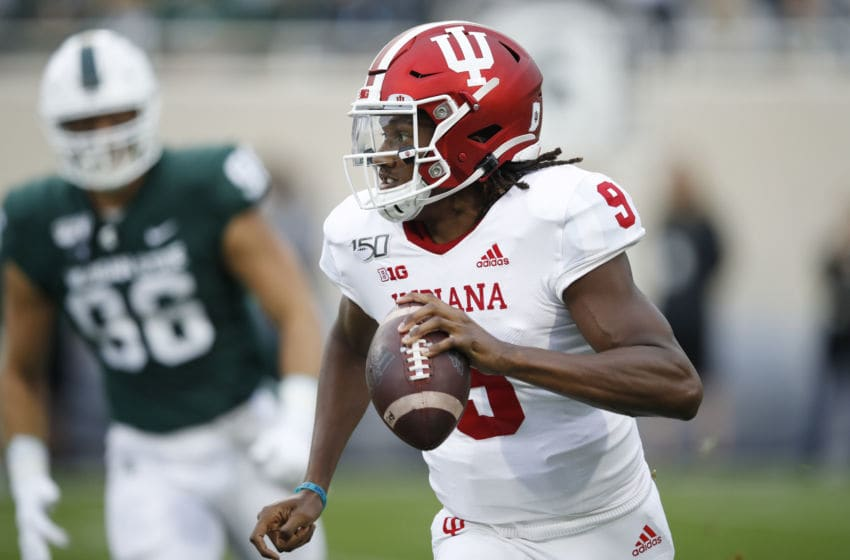 EAST LANSING, MI - SEPTEMBER 28: Michael Penix Jr. #9 of the Indiana Hoosiers runs with the ball in the first quarter against the Michigan State Spartans at Spartan Stadium on September 28, 2019 in East Lansing, Michigan. (Photo by Joe Robbins/Getty Images)