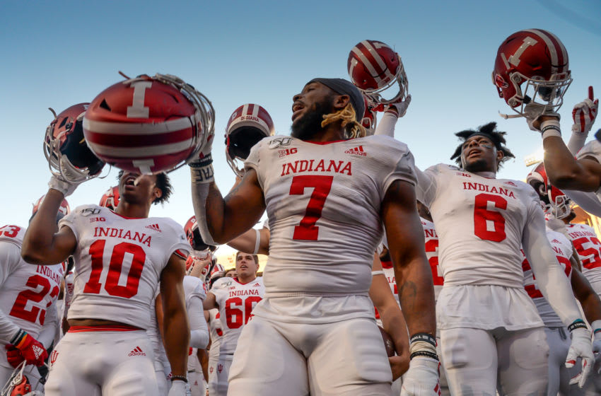 LINCOLN, NE - OCTOBER 26: Linebacker Reakwon Jones #7 of the Indiana Hoosiers leads the team in the fight song after the win against the Nebraska Cornhuskers at Memorial Stadium on October 26, 2019 in Lincoln, Nebraska. (Photo by Steven Branscombe/Getty Images)
