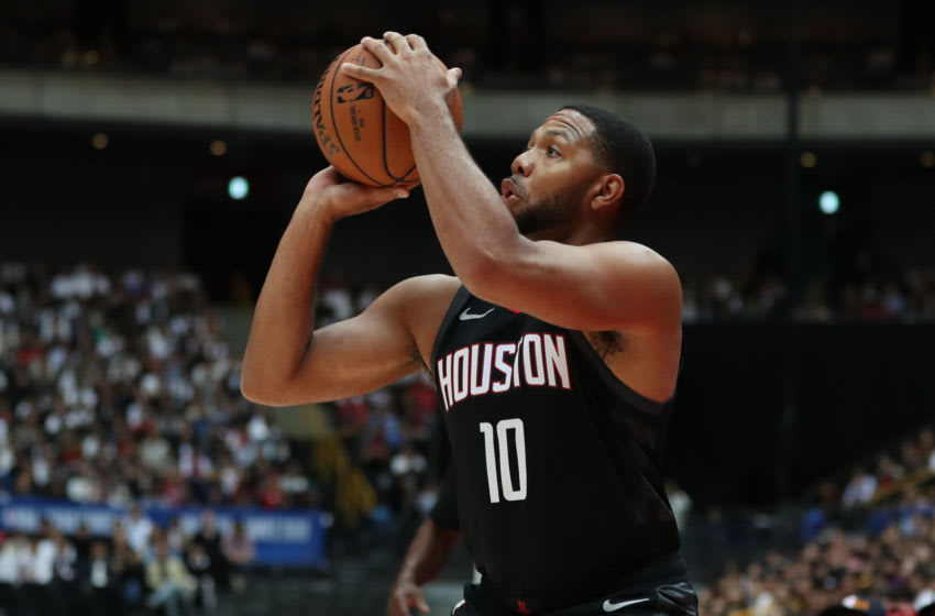 SAITAMA, JAPAN - OCTOBER 10: Eric Gordon #10 of Houston Rockets shoots a three pointer during the preseason game between Toronto Raptors and Houston Rockets at Saitama Super Arena on October 10, 2019 in Saitama, Japan. NOTE TO USER: User expressly acknowledges and agrees that, by downloading and/or using this photograph, user is consenting to the terms and conditions of the Getty Images License Agreement. (Photo by Takashi Aoyama/Getty Images)