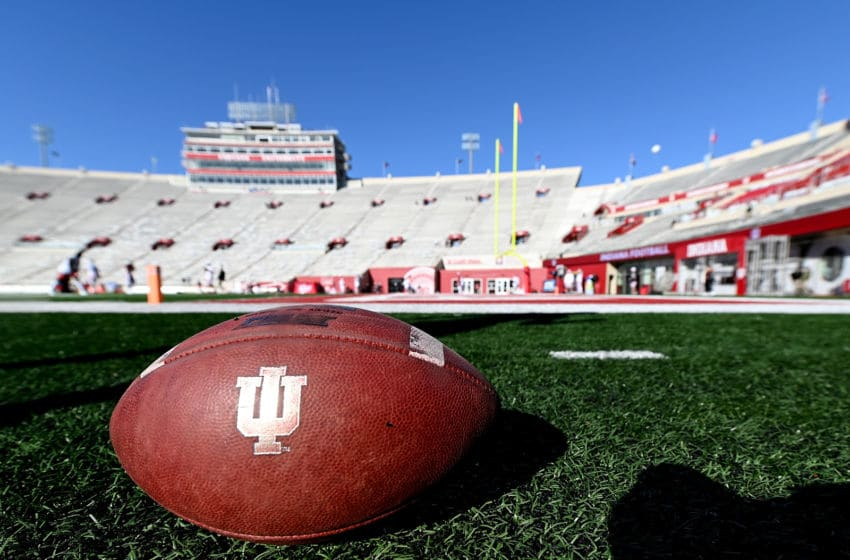 BLOOMINGTON, IN - OCTOBER 12: A football sits on the field before the start of the game between the Indiana Hoosiers and the Rutgers Scarlet Knights at Memorial Stadium on October 12, 2019 in Bloomington, Indiana. (Photo by Bobby Ellis/Getty Images)