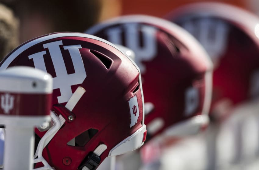 STATE COLLEGE, PA - NOVEMBER 16: Indiana Hoosiers helmets are warmed on the sidelines before the game between the Penn State Nittany Lions and the Indiana Hoosiers at Beaver Stadium on November 16, 2019 in State College, Pennsylvania. (Photo by Scott Taetsch/Getty Images)