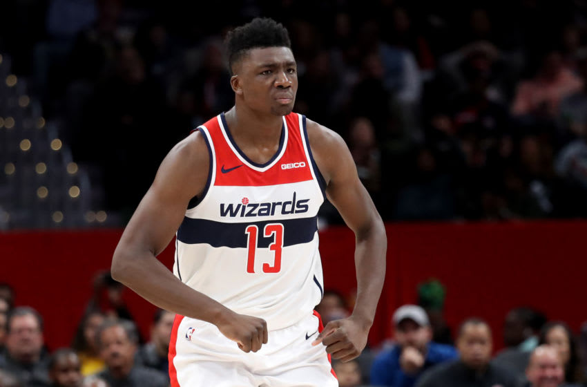 WASHINGTON, DC - NOVEMBER 08: Thomas Bryant #13 of the Washington Wizards celebrates after scoring against the Cleveland Cavaliers at Capital One Arena on November 08, 2019 in Washington, DC. NOTE TO USER: User expressly acknowledges and agrees that, by downloading and/or using this photograph, user is consenting to the terms and conditions of the Getty Images License Agreement. (Photo by Rob Carr/Getty Images)