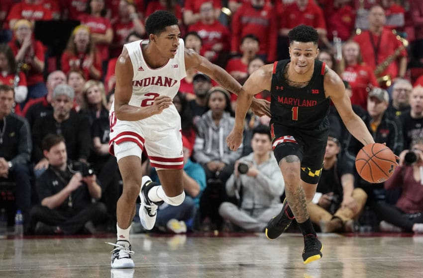 COLLEGE PARK, MD - JANUARY 04: Anthony Cowan Jr. #1 of the Maryland Terrapins dribbles the ball as Armaan Franklin #2 of the Indiana Hoosiers defends in the second half at Xfinity Center on January 4, 2020 in College Park, Maryland. (Photo by Patrick McDermott/Getty Images)