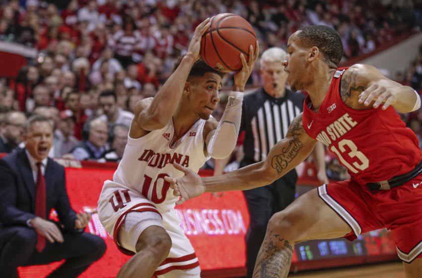 BLOOMINGTON, IN - JANUARY 11: Al Durham #1 of the Indiana Hoosiers holds the ball against CJ Walker #13 of the Ohio State Buckeyes during the first half at Assembly Hall on January 11, 2020 in Bloomington, Indiana. (Photo by Michael Hickey/Getty Images)