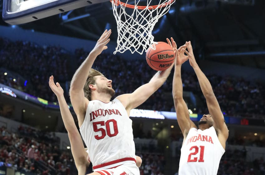 INDIANAPOLIS, INDIANA - DECEMBER 21: Joey Brunk #50 of the Indiana Hoosiers grabs a rebound against the Notre Dame Fighting Irish during the Crossroads Classic at Bankers Life Fieldhouse on December 21, 2019 in Indianapolis, Indiana. (Photo by Andy Lyons/Getty Images)