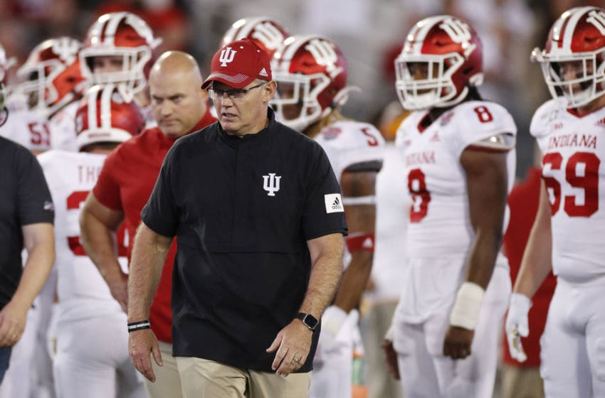 JACKSONVILLE, FL - JANUARY 02: Indiana Hoosiers head coach Tom Allen looks on prior to the start of the TaxSlayer Gator Bowl against the Tennessee Volunteers at TIAA Bank Field on January 2, 2020 in Jacksonville, Florida. (Photo by Joe Robbins/Getty Images)