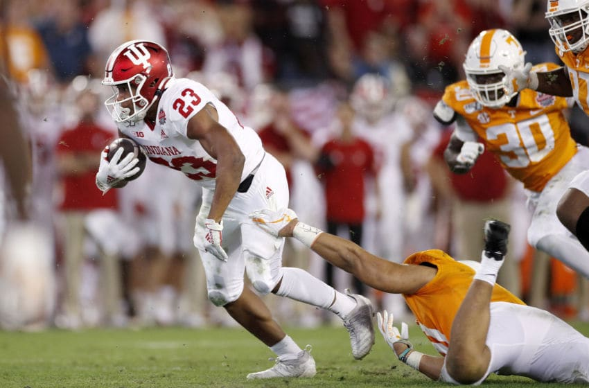 JACKSONVILLE, FL - JANUARY 02: Ronnie Walker Jr. #23 of the Indiana Hoosiers runs with the ball in the second half of the TaxSlayer Gator Bowl against the Tennessee Volunteers at TIAA Bank Field on January 2, 2020 in Jacksonville, Florida. (Photo by Joe Robbins/Getty Images)