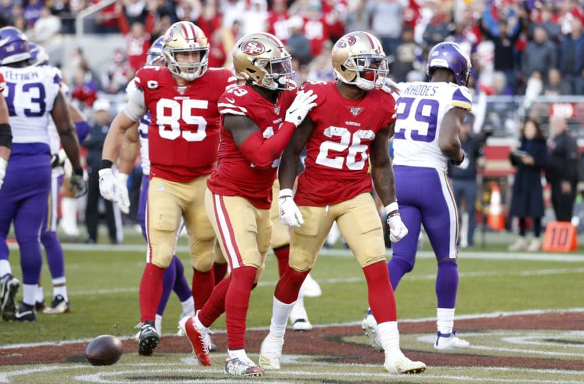 SANTA CLARA, CALIFORNIA - JANUARY 11: Tevin Coleman #26 of the San Francisco 49ers reacts to scoring a touchdown during the second half against the Minnesota Vikings during the NFC Divisional Round Playoff game at Levi's Stadium on January 11, 2020 in Santa Clara, California. (Photo by Lachlan Cunningham/Getty Images)