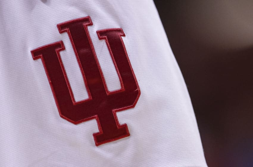 BLOOMINGTON, IN - FEBRUARY 13: An Indiana Hoosiers logo is seen on the shorts of a player during the game against the Iowa Hawkeyes at Assembly Hall on February 13, 2020 in Bloomington, Indiana. (Photo by Michael Hickey/Getty Images)