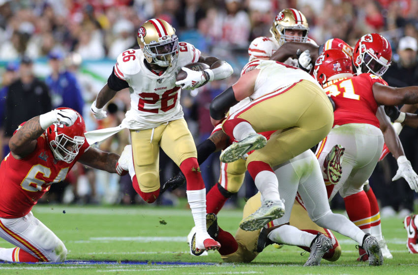 MIAMI, FLORIDA - FEBRUARY 02: Tevin Coleman #26 of the San Francisco 49ers runs with the ball against the Kansas City Chiefs during the second quarter in Super Bowl LIV at Hard Rock Stadium on February 02, 2020 in Miami, Florida. (Photo by Jamie Squire/Getty Images)