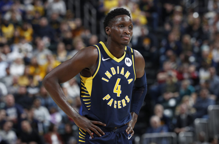 INDIANAPOLIS, IN - FEBRUARY 01: Victor Oladipo #4 of the Indiana Pacers looks on during a game against the New York Knicks at Bankers Life Fieldhouse on February 1, 2020 in Indianapolis, Indiana. The Knicks defeated the Pacers 92-85. NOTE TO USER: User expressly acknowledges and agrees that, by downloading and or using this Photograph, user is consenting to the terms and conditions of the Getty Images License Agreement. (Photo by Joe Robbins/Getty Images)