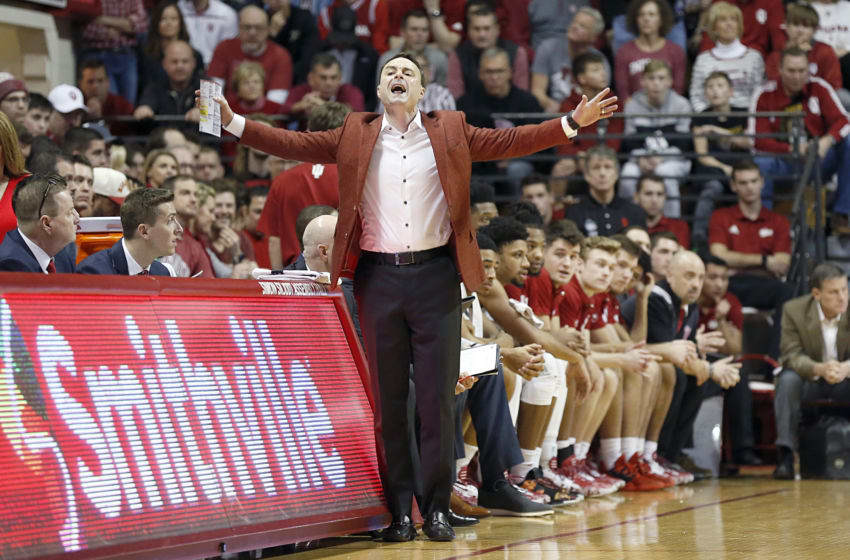 BLOOMINGTON, INDIANA - FEBRUARY 08: Head coach Archie Miller of the Indiana Hoosiers reacts to a play in the game against the Purdue Boilermakers during the first half at Assembly Hall on February 08, 2020 in Bloomington, Indiana. (Photo by Justin Casterline/Getty Images)