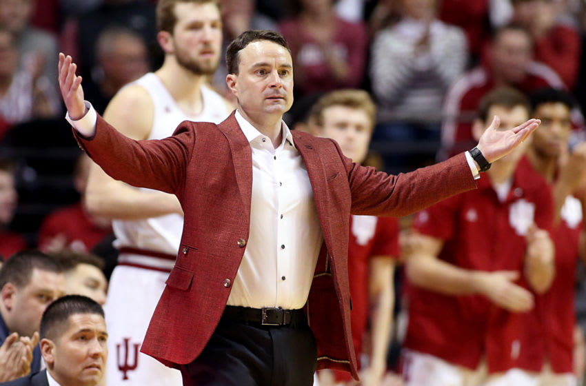 BLOOMINGTON, INDIANA - FEBRUARY 08: Head coach Archie Miller of the Indiana Hoosiers reacts to a play in the game against the Purdue Boilermakers during the second half at Assembly Hall on February 08, 2020 in Bloomington, Indiana. (Photo by Justin Casterline/Getty Images)