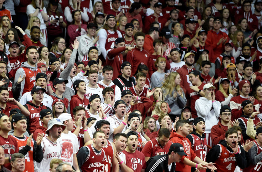 BLOOMINGTON, IN - JANUARY 26: Indiana Hoosiers fans cheer during the game against the Maryland Terrapins at Assembly Hall on January 26, 2020 in Bloomington, Indiana. (Photo by G Fiume/Maryland Terrapins/Getty Images)