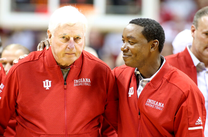 BLOOMINGTON, INDIANA - FEBRUARY 08: Former Indiana Hoosiers head coach Bob Knight and former Indiana Hoosiers player Isaiah Thomas on the court at half time during the game against the Purdue Boilermakers at Assembly Hall on February 08, 2020 in Bloomington, Indiana. (Photo by Justin Casterline/Getty Images)