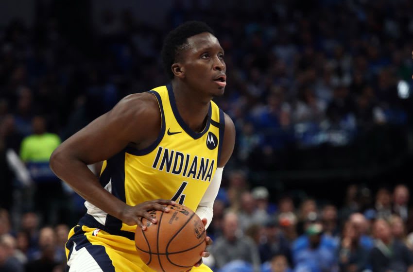 DALLAS, TEXAS - MARCH 08: Victor Oladipo #4 of the Indiana Pacers takes a shot against the Dallas Mavericks at American Airlines Center on March 08, 2020 in Dallas, Texas. NOTE TO USER: User expressly acknowledges and agrees that, by downloading and or using this photograph, User is consenting to the terms and conditions of the Getty Images License Agreement. (Photo by Ronald Martinez/Getty Images)