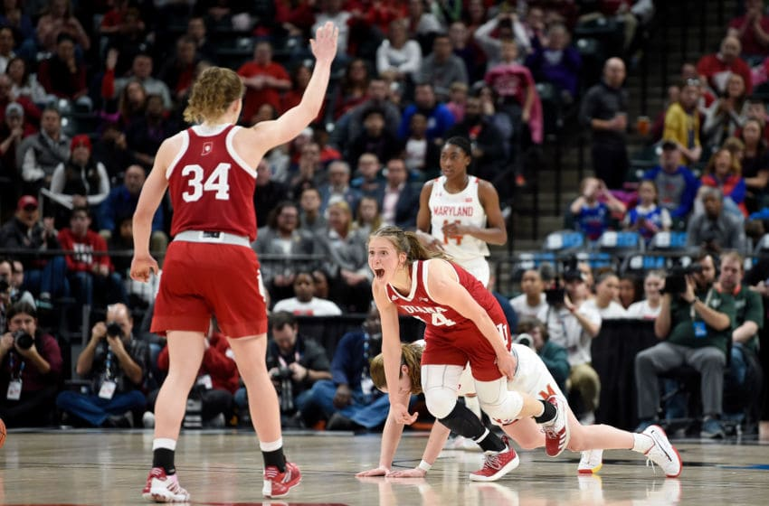 INDIANAPOLIS, IN - MARCH 07: Ali Patberg #14 of the Indiana Hoosiers celebrates during the game against the Maryland Terrapins in the Semifinals of the Big Ten Women's Basketball Tournament at Bankers Life Fieldhouse on March 7, 2020 in Indianapolis, Indiana. (Photo by G Fiume/Maryland Terrapins/Getty Images)