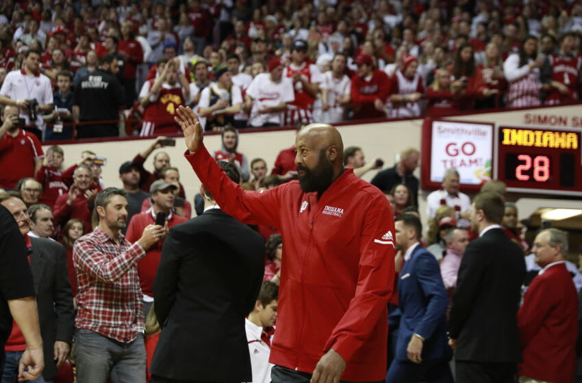 BLOOMINGTON, INDIANA, UNITED STATES - 2020/02/08: Former IU basketball player Mike Woodson (42) walks on the court of Assembly Hall as NCAA basketball coach. Bob Knight, who took the Indiana Hoosiers to three NCAA national titles, returns to Assembly Hall, Saturday, February 8, 2020 in Bloomington. Mike Woodson was named as the new IU basketball coach this Monday Mar 29th. (Photo by Jeremy Hogan/SOPA Images/LightRocket via Getty Images)