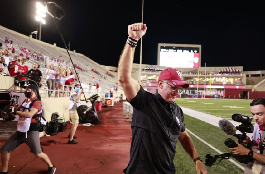BLOOMINGTON, INDIANA, UNITED STATES - 2021/09/11: Indiana University football coach Tom Allen waves to fans after the NCAA football game at Memorial Stadium in Bloomington. The Hoosiers beat the Vandals 56-14. (Photo by Jeremy Hogan/SOPA Images/LightRocket via Getty Images)