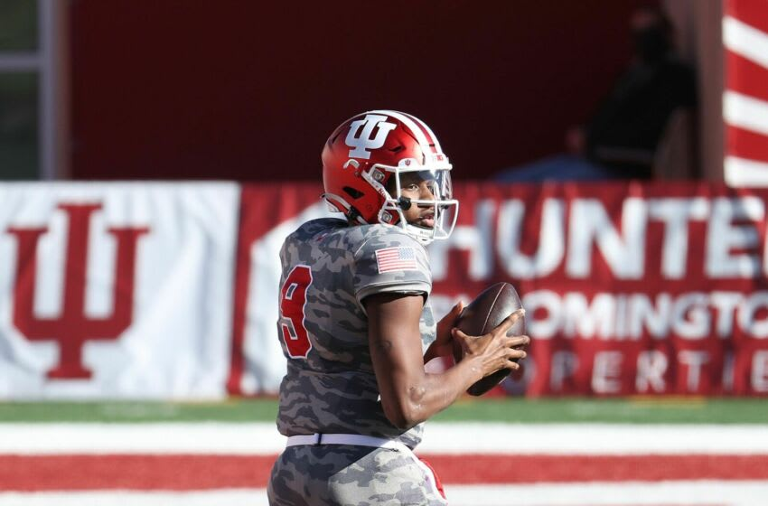 BLOOMINGTON, INDIANA - NOVEMBER 28: Michael Penix Jr #9 of the Indiana Hoosiers looks to pass the ball against the Maryland Terrapins during the game at Memorial Stadium on November 28, 2020 in Bloomington, Indiana. (Photo by Andy Lyons/Getty Images)