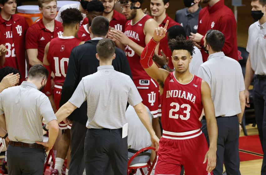 PISCATAWAY, NJ - FEBRUARY 24: Trayce Jackson-Davis #23 of the Indiana Hoosiers is introduced before an NCAA college basketball game against the Rutgers Scarlet Knights at Rutgers Athletic Center on February 24, 2021 in Piscataway, New Jersey. Rutgers defeated Indiana 74-63. (Photo by Rich Schultz/Getty Images)