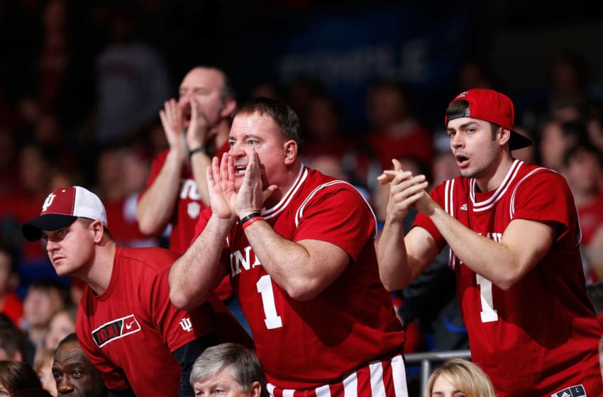 DAYTON, OH - MARCH 24: Indiana Hoosiers fans yell from the crowd in the second half against the Temple Owls during the third round of the 2013 NCAA Men's Basketball Tournament at UD Arena on March 24, 2013 in Dayton, Ohio. (Photo by Joe Robbins/Getty Images)