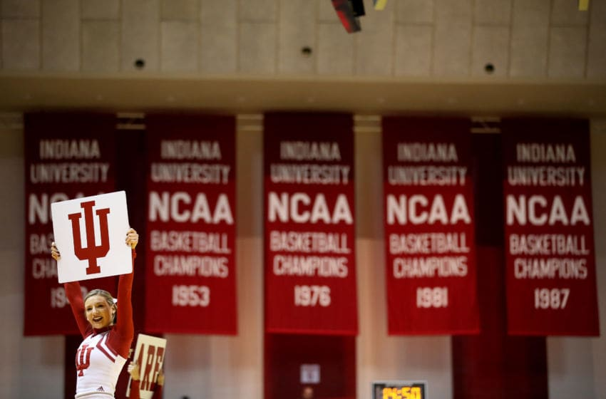 BLOOMINGTON, IN - JANUARY 15: A Indiana Hoosiers cheerleader performs during the game against the Rutgers Scarlet Knights at Assembly Hall on January 15, 2017 in Bloomington, Indiana. (Photo by Andy Lyons/Getty Images)