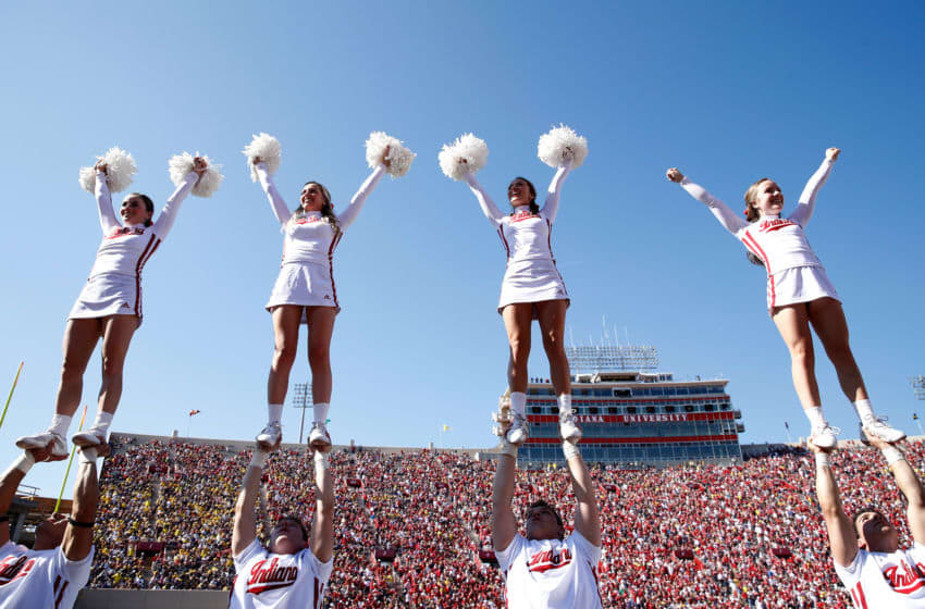 BLOOMINGTON, IN - OCTOBER 14: Indiana Hoosiers cheerleaders perform during the game against the Michigan Wolverines at Memorial Stadium on October 14, 2017 in Bloomington, Indiana. (Photo by Andy Lyons/Getty Images)