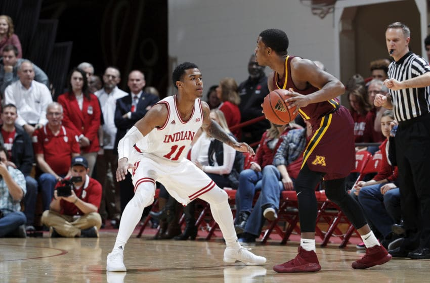 BLOOMINGTON, IN - FEBRUARY 09: Devonte Green #11 of the Indiana Hoosiers defends during a game against the Minnesota Golden Gophers at Assembly Hall on February 9, 2018 in Bloomington, Indiana. Indiana won 80-56. (Photo by Joe Robbins/Getty Images)