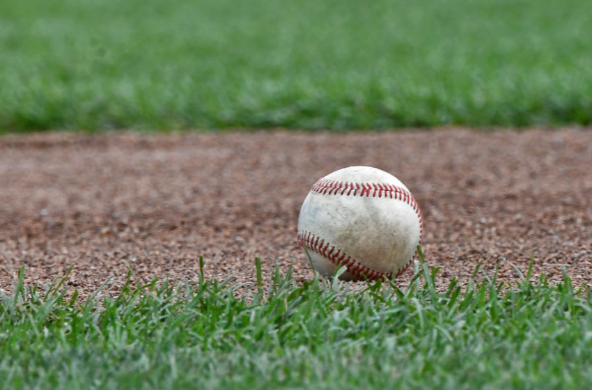OMAHA, NE - JUNE 26: A general view of a baseball on the field during batting practice before game one of the College World Series Championship Series between the Arkansas Razorbacks and the Oregon State Beavers on June 26, 2018 at TD Ameritrade Park in Omaha, Nebraska. (Photo by Peter Aiken/Getty Images)