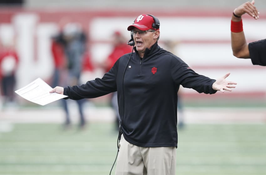 BLOOMINGTON, IN - NOVEMBER 04: Head coach Tom Allen of the Indiana Hoosiers reacts in the fourth quarter of a game against the Wisconsin Badgers at Memorial Stadium on November 4, 2017 in Bloomington, Indiana. Wisconsin defeated Indiana 45-17. (Photo by Joe Robbins/Getty Images)