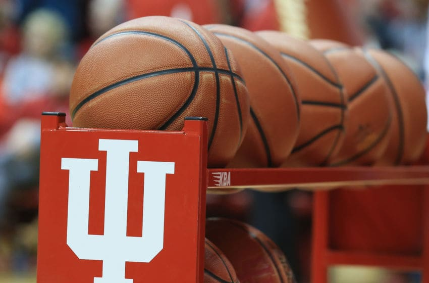 BLOOMINGTON, IN - JANUARY 14: A rack of balls at the Indiana Hoosiers games against the Nebraska Cornhuskers at Assembly Hall on January 14, 2019 in Bloomington, Indiana. (Photo by Andy Lyons/Getty Images)