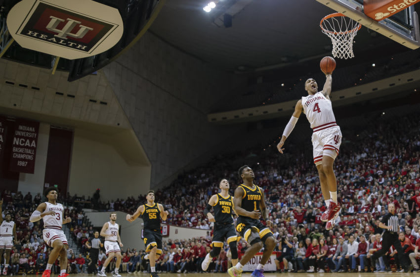 BLOOMINGTON, IN - FEBRUARY 13: Trayce Jackson-Davis #4 of the Indiana Hoosiers goes up for a dunk during the game against the Iowa Hawkeyes at Assembly Hall on February 13, 2020 in Bloomington, Indiana. (Photo by Michael Hickey/Getty Images)