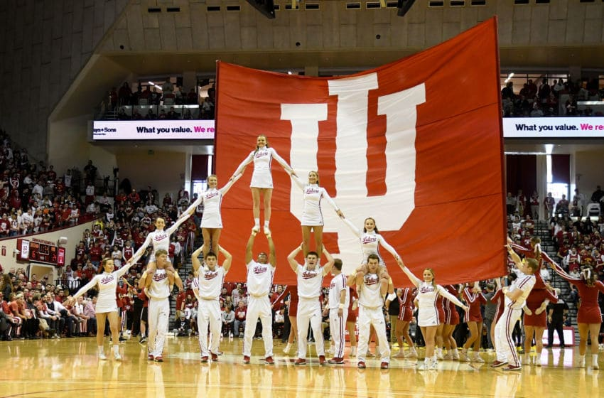 BLOOMINGTON, IN - JANUARY 26: The Indiana Hoosiers cheerleaders perform during the game against the Maryland Terrapins at Assembly Hall on January 26, 2020 in Bloomington, Indiana. (Photo by G Fiume/Maryland Terrapins/Getty Images)