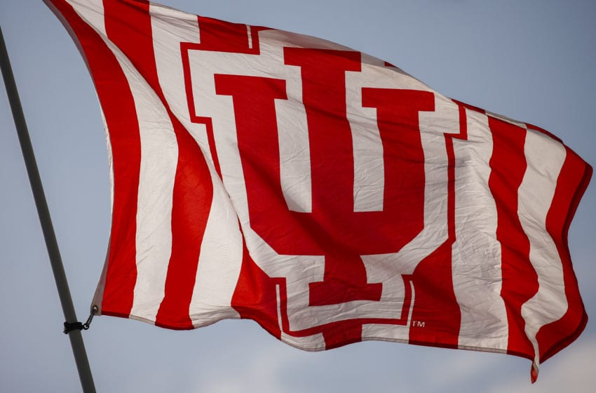 BLOOMINGTON, IN - OCTOBER 1: General view of an Indiana Hoosiers flag seen before the game against the Michigan State Spartans at Memorial Stadium on October 1, 2016 in Bloomington, Indiana. (Photo by Michael Hickey/Getty Images)