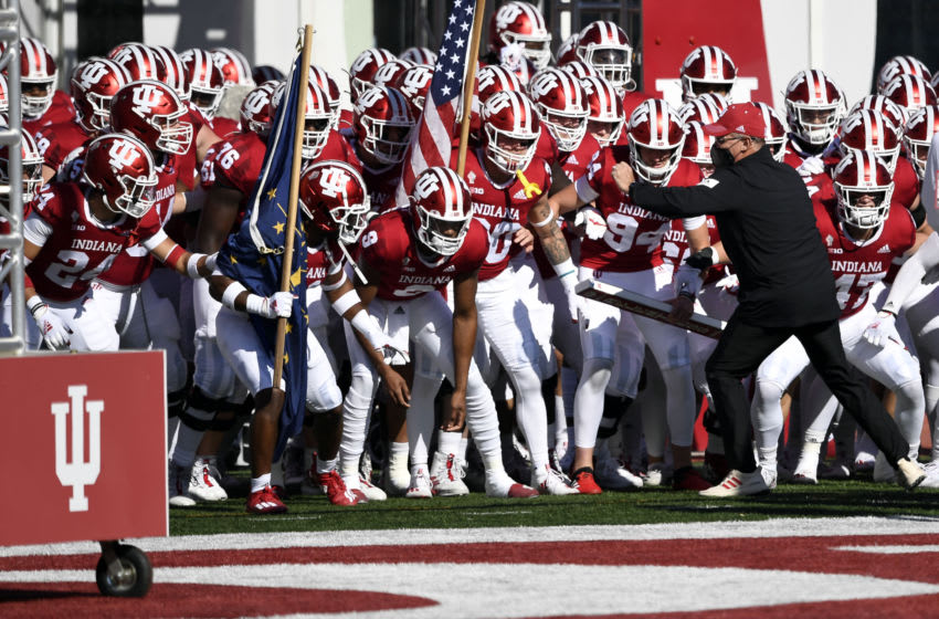 Nov 7, 2020; Bloomington, Indiana, USA; Indiana Hoosiers head coach Tom Allen riles up his team before the game against the Michigan Wolverines at Memorial Stadium. Mandatory Credit: Marc Lebryk-USA TODAY Sports