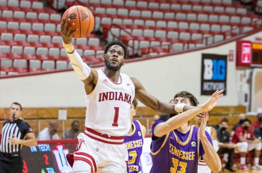 Nov 25, 2020; Bloomington, Indiana, USA; Indiana Hoosiers guard Al Durham (1) shoots the ball against Tennessee Tech Golden Eagles forward Shandon Goldman (33) in the first half at Simon Skjodt Assembly Hall. Mandatory Credit: Trevor Ruszkowski-USA TODAY Sports