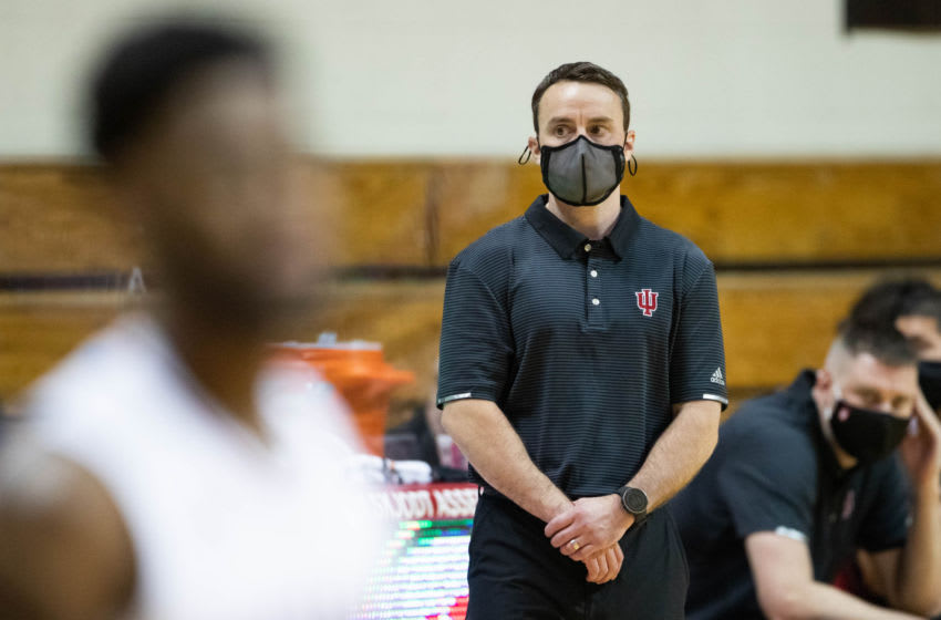 Nov 25, 2020; Bloomington, Indiana, USA; Indiana Hoosiers head coach Archie Miller looks on from the sideline in the first half against the Tennessee Tech Golden Eagles at Simon Skjodt Assembly Hall. Mandatory Credit: Trevor Ruszkowski-USA TODAY Sports